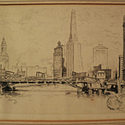 "OTTO SCHNEIDER (1875-1946) etching ""Chicago From the River"" by listed Illinois artist"
