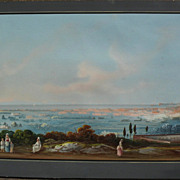 NEAPOLITAN SCHOOL (19th century) large panoramic gouache landscape painting with figures including Vesuvius