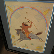 HARRISON BEGAY (1917-2012) Southwestern Native American art original gouache painting of traditional subject