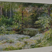 HENRY WEBSTER RICE (1853-1934) fine watercolor painting of pond and forest meadow in spring by accomplished New England artist
