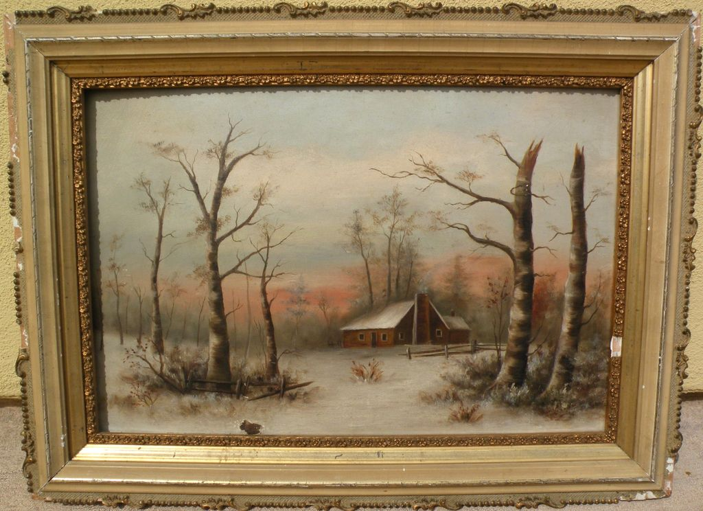 American late 19th century art primitive landscape painting of cabin in the snowy woods