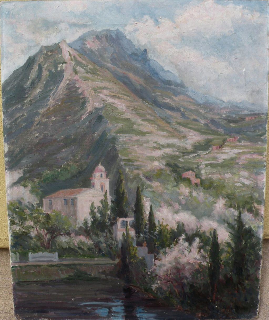 ALICE BALCH STONE (1876-1926) American impressionist artist painting of Italian landscape