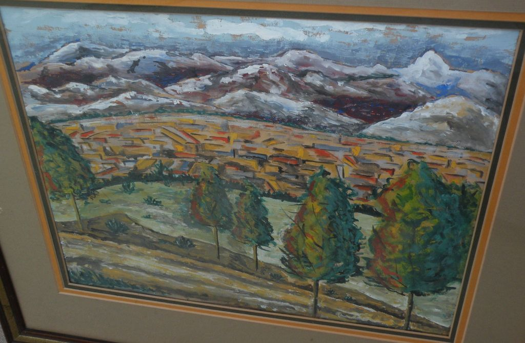 Gouache western landscape painting perhaps New Mexico