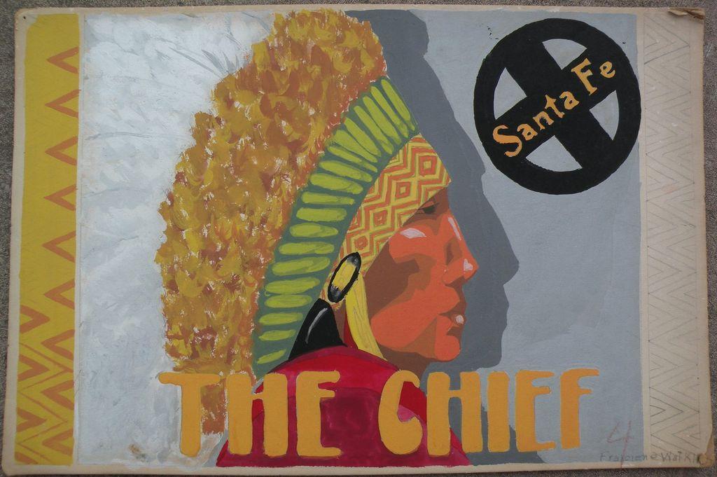 Original advertising art circa 1940's for Santa Fe Railroad signed by artist