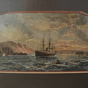 "Late 19th century hand colored engraving print ""Entrance to the Bay of San Francisco"""