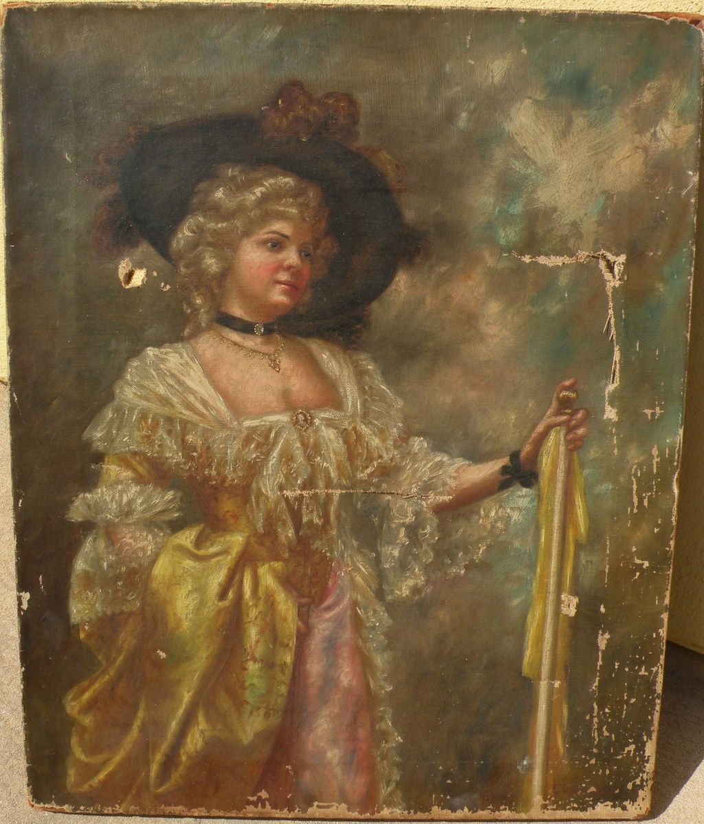 American 19th century art painting of elegant lady signed by listed artist LYLIAN ROOT HULBERT