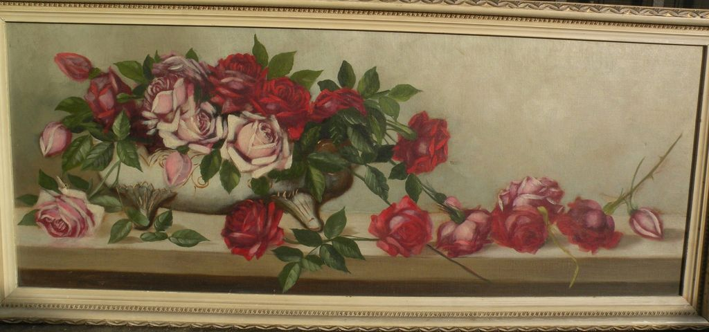 American still life painting of roses circa 1900