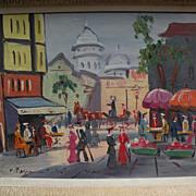 Paris Montmartre circa 1960's kitsch painting Sacre Coeur