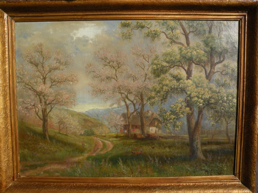 German 1920 signed oil painting of a traditional house in a forested landscape