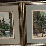 CHARLES BLONDIN (1913-1991) Paris impressionist street scenes **PAIR** pencil signed limited edition color prints