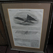 Transportation memorabilia 19th century periodical page describing early steam powered aircraft designs