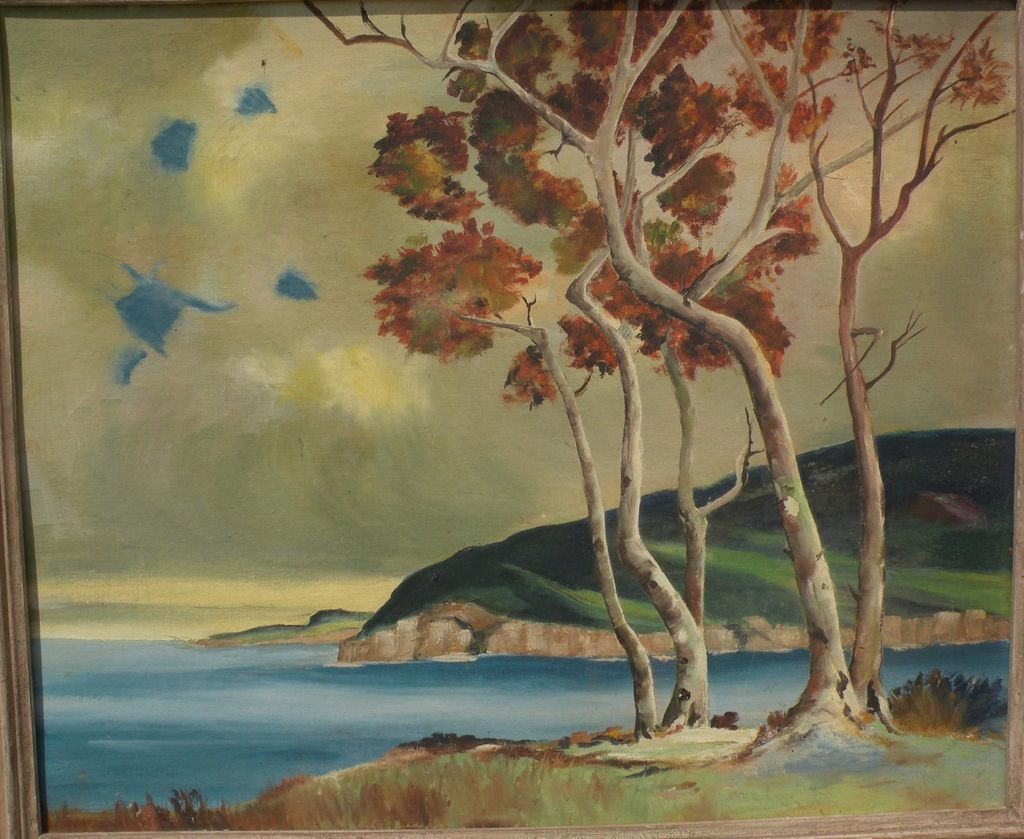 American mid 20th century landscape painting of a coastline with trees in autumn