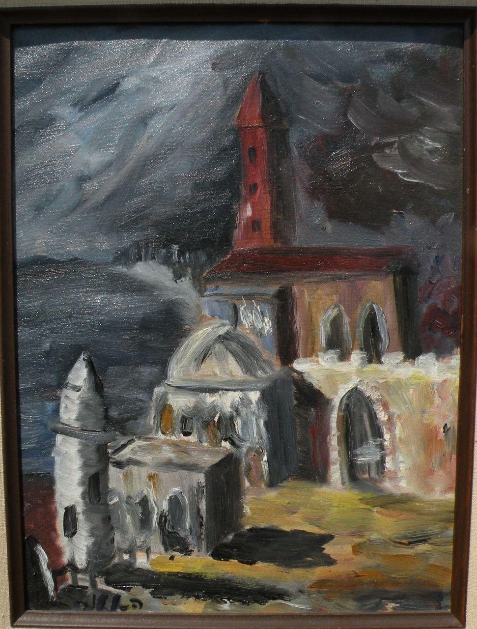Jewish art signed impressionist painting of Israeli ...