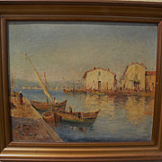 DOMINIQUE MANAGO (1902-) impressionist painting of Mediterranean harbor by listed French artist