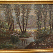 American vintage impressionist painting view through the trees signed Chatterton