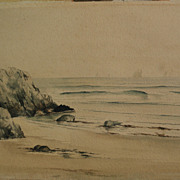 Circa 1900 antique watercolor painting of New England coastline
