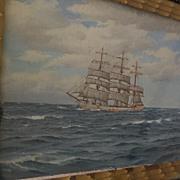 HORACIO GERARDO GARCIA (1878-1942)  marine art detailed painting of lipper ship on the high seas