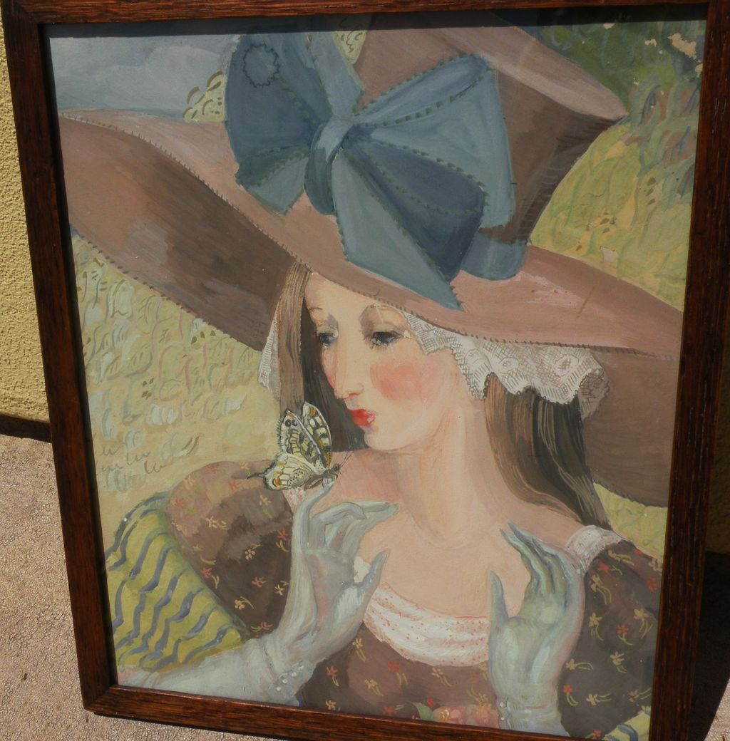 MARGO ALEXANDER (1894-1965) mid century modern highly decorative gouache painting of a lady by listed California artist