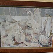 CAROL ROSENAK (1925-2002) elegant mid century interior with still life white on white painting by recognized California artist
