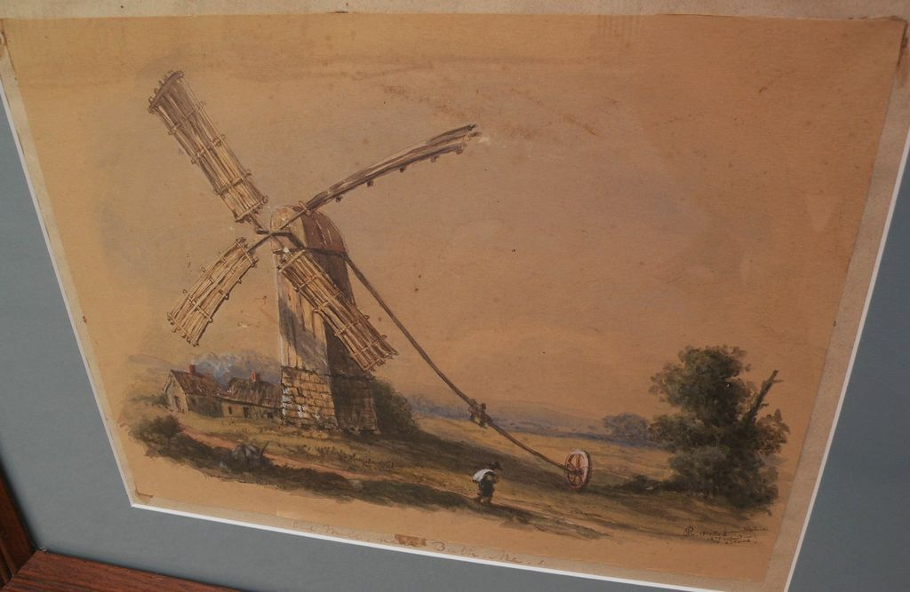 "Historical 19th century American watercolor painting ""Old Mill, Near Bath, Me."" (Maine) signed and dated"