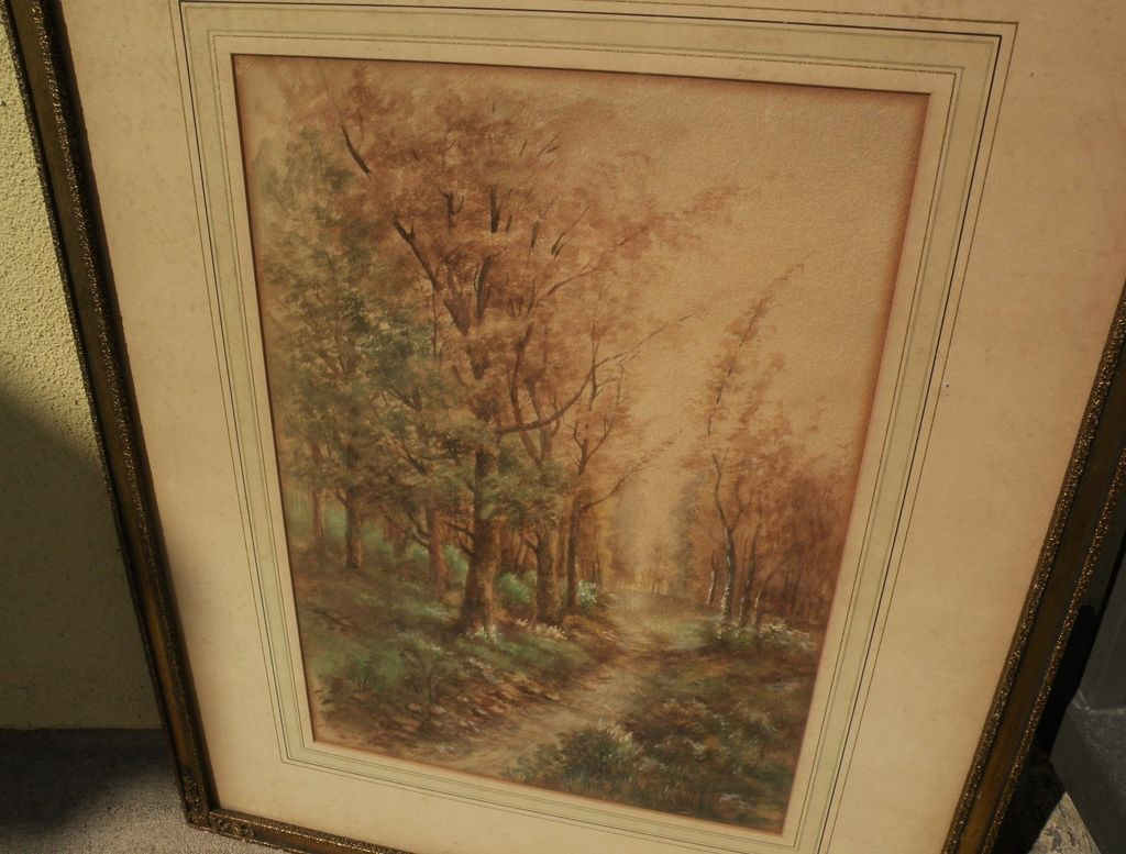 American art circa 1910 antique watercolor painting of autumn forest trail