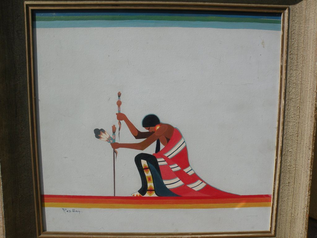 Native American art circa 1950 dramatic painting of kneeling figure signed by artist Red Hat