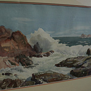 FRED SERSEN (1890-1962) fine California watercolor coastal seascape painting by noted studio special effects legend