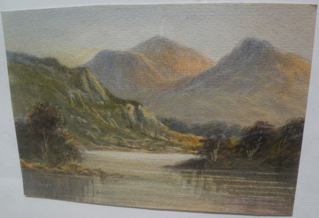 English or Scottish 19th century watercolor painting of the Lakes District or Highlands‏