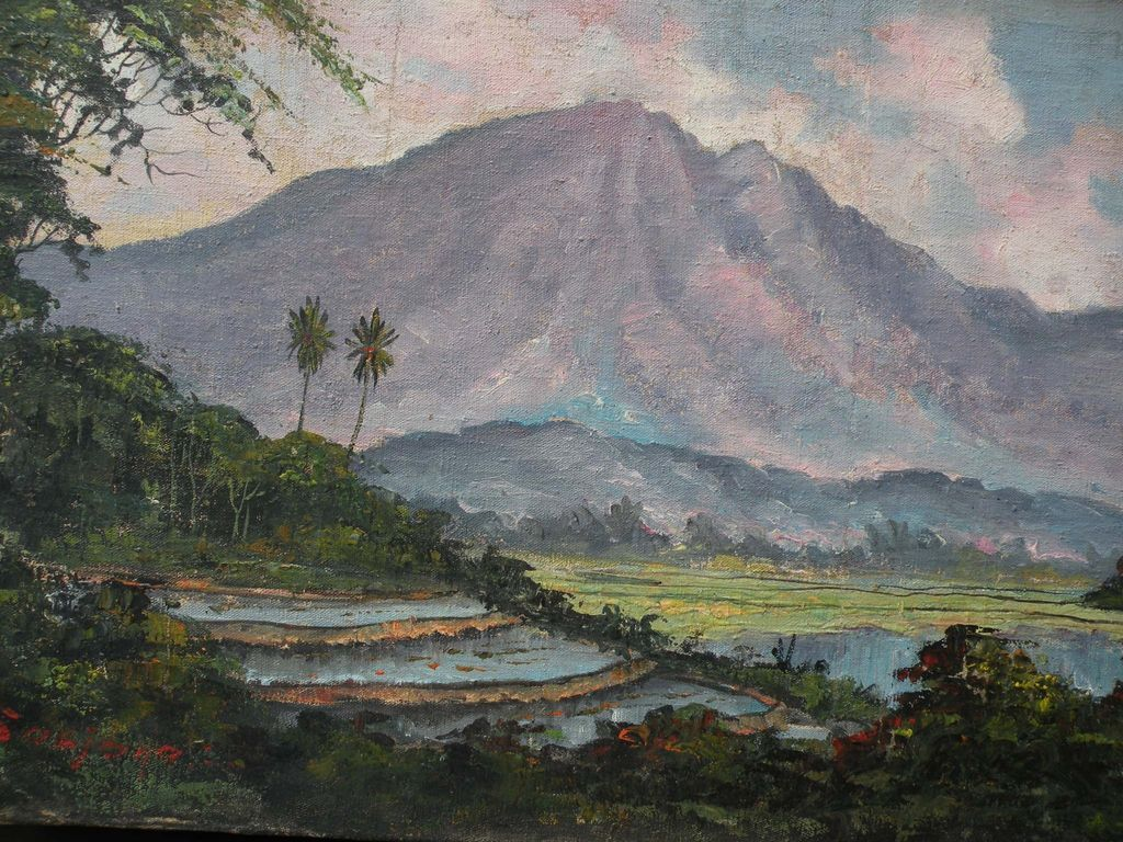 Indonesian Art Impressionist Expansive Landscape Painting