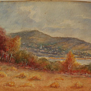 American 19th century watercolor landscape in autumn signed J. CRAWFORD