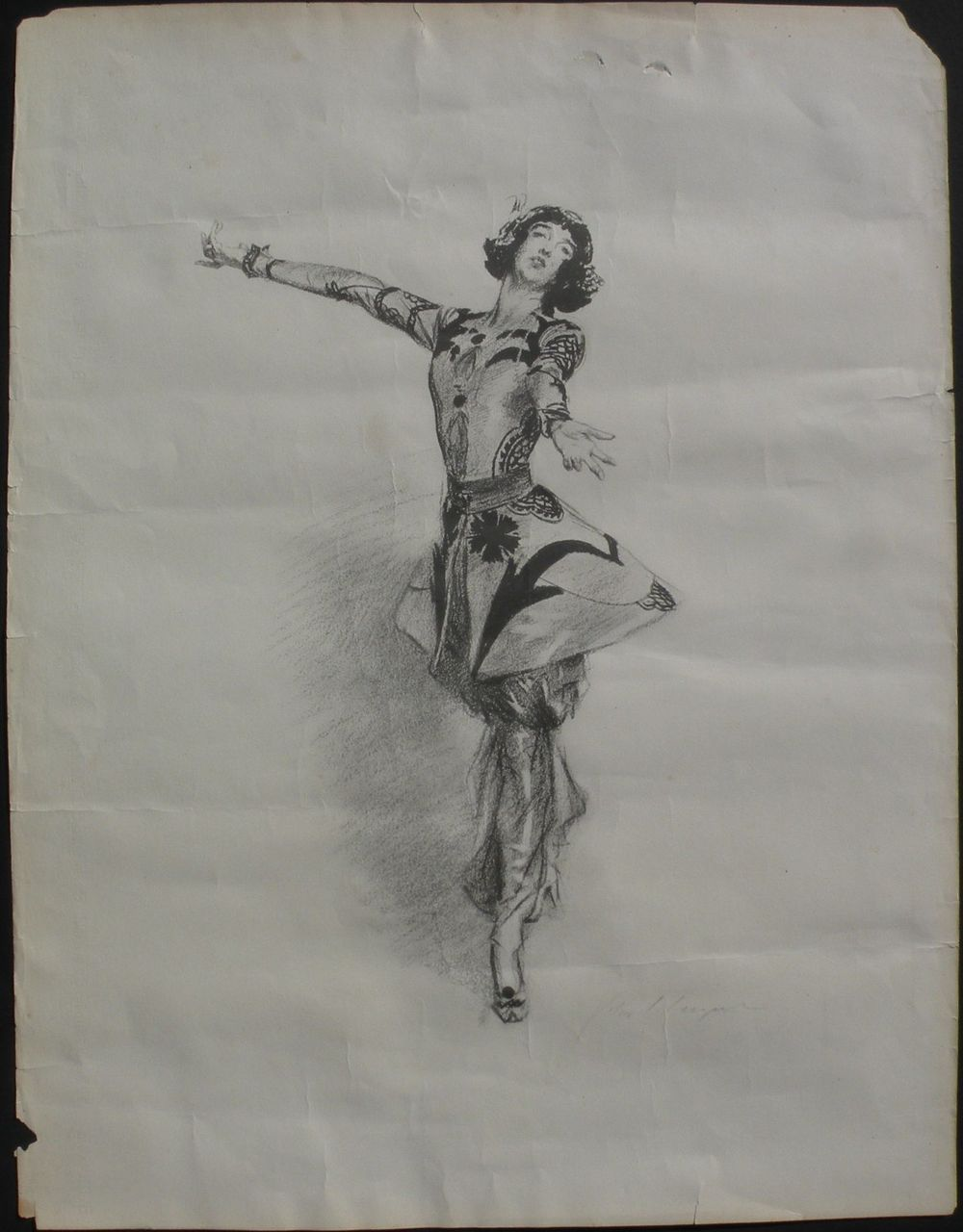 After JOHN SINGER SARGENT (1856-1925) circa 1920 lithograph print  of Gloria Vanderbilt Whitney on fine watermarked paper