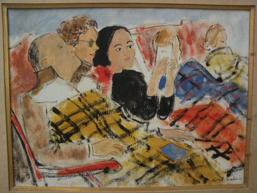 LISEL SALZER (1906-2005) circa 1960 figural painting by noted Austrian Jewish expatriate artist