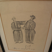 HARRY LIEBERMAN (1876-1983) naive style Judaica pencil drawing of two men in traditional dress by acclaimed Jewish artist
