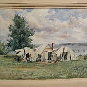 Unusual 19th century American watercolor of a coastal camp with African-American figures