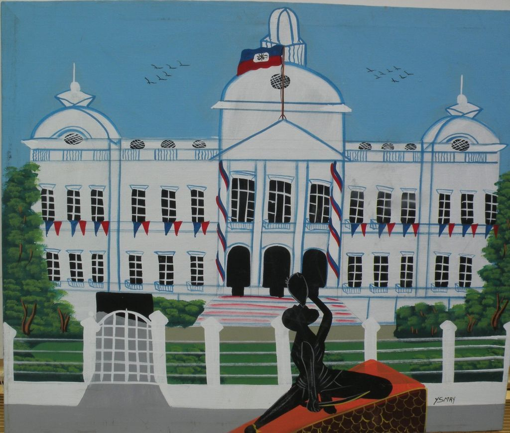 Haitian art naive painting of Presidential Palace in Port-au-Prince‏