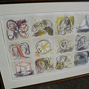 PIERRE ALECHINSKY (1927-) CoBra post war modern art major artist signed numbered limited edition 1969 lithograph print