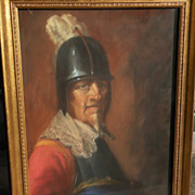 Signed large pastel drawing of helmeted 17th century warrior‏