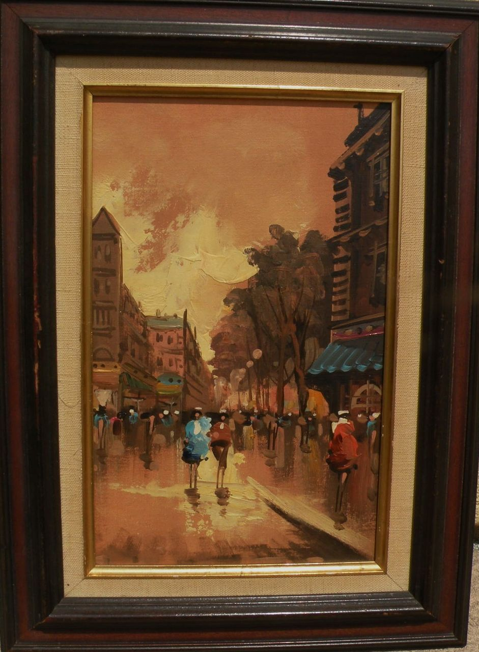 Retro painting of Paris street scene circa 1970‏