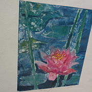 Monotype painting of water lilies by Los Angeles artist‏‏ Pat Berger