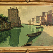 GIUSEPPE MARINO (1916-1975) Italian impressionist painting of Venice canal by listed artist