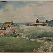 Fine watercolor painting of a ranch at the coast possibly Hawaiian or Australian