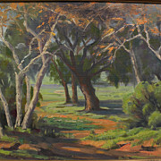 "GEORGE BREDEHORST (1903-1986) California plein air art landscape painting ""Sycamores"""