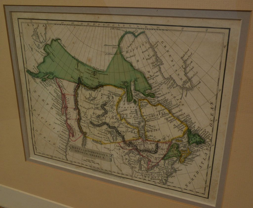 "Original hand colored 1814 map of Canada ""British Dominions in North America"""