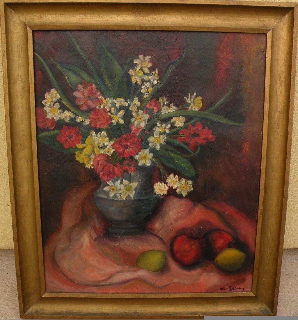 HELEN DEDEAUX (1915-2007) listed California art still life oil painting