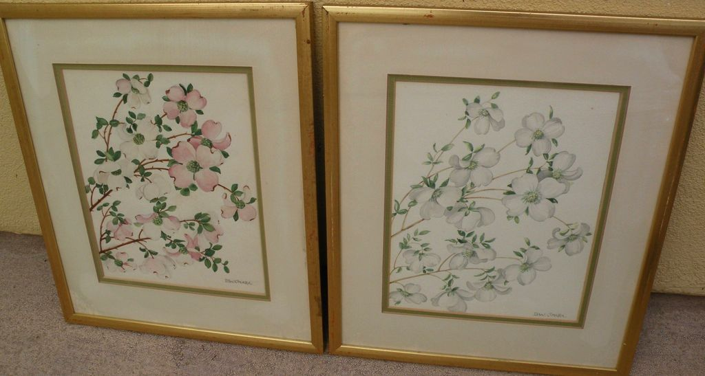 DOROTHEA WARREN O'HARA (1873-1972) **pair** of floral drawings by noted ceramicist and craftswoman designer