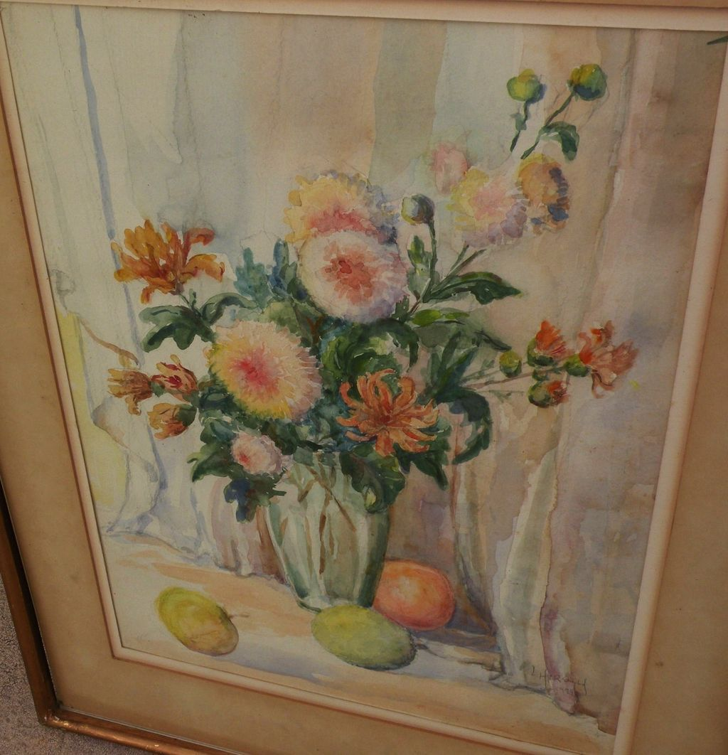 Signed decorative American watercolor still life painting