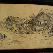 ROBERT KOEHLER (1850-1917) pencil drawing of Bavarian houses dated 1880 by noted German-American artist