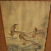 Interesting Art Deco inspired vintage watercolor painting of gazelles