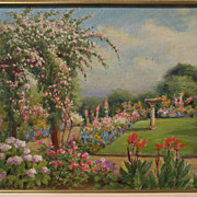 WILLIAM ADAM (1846-1931) California plein air art impressionist painting of a sunny garden‏