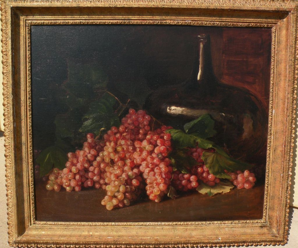 Fine American early 20th century impressionist signed still life painting grapes in a table setting